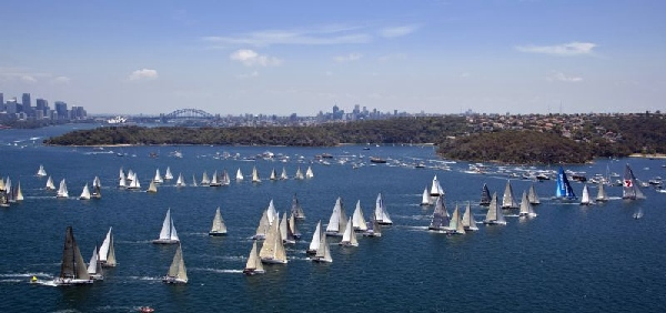 Start, from the air; 64th Rolex Sydney Hobart Yacht Race 2008;  Photo: ROLEX/Daniel Forster