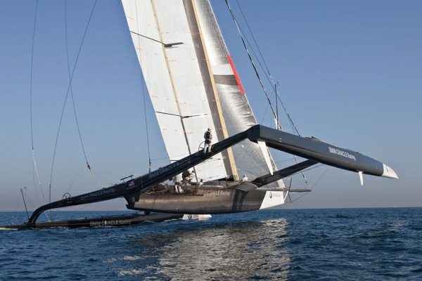 America's Cup - BMW ORACLE Racing - Wing trials, Day 5 - Photographer:  Gilles Martin-Raget