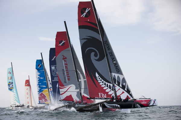 Start of Race 4 on Day 2 of the Extreme Sailing Series 2011  © Lloyd Images