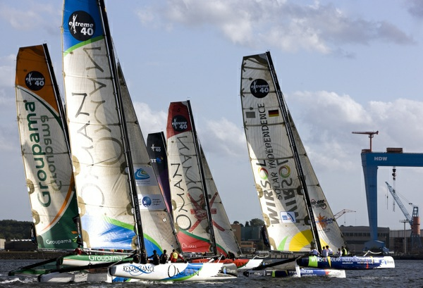ishares cup kiel, day 1. extreme 40 fleet. ishares cup kiel, day 1. flotte d'extreme 40. ishares cup kiel, jour 1. flotte d'extreme 40