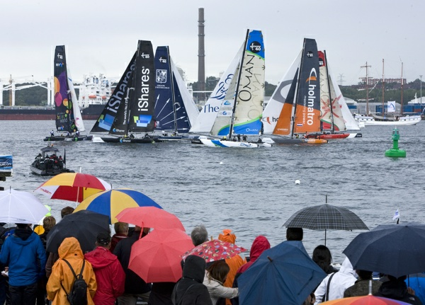 fleet of the extreme 40 on day 2 of the ishares cup ishares cup kiel, jour 2. flotte d'extreme 40.