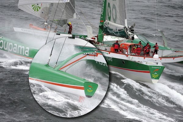 It was at 1216 UT on Monday 16th November, that the skipper of Groupama 3, Franck Cammas, called the Jules Verne Trophy team to inform them that an aft beam bulkhead had broken, leading to serious damage to the float - Photocopyright:  Groupama