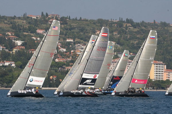 With eleven teams on the starting line, the RC 44 fleet is more competitive than ever (c) Ales Fevzer / RC44 Class Association-