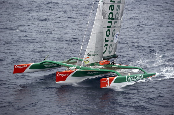 Aerial view of Groupama 3, 100 miles off Guadeloupe - 2010/11/08 - © Yvan Zedda