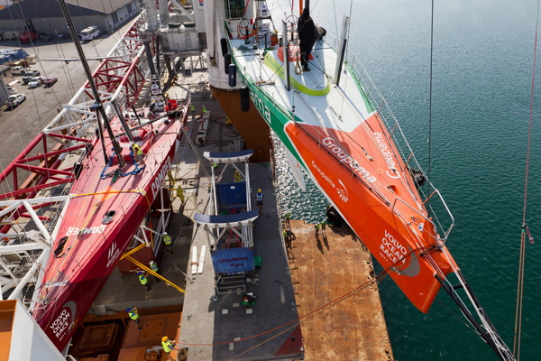 Groupama Sailing Team is unloaded ready for the restart of stage 2 of leg 2 to Abu Dhabi.  - Photo Credit: IAN ROMAN/Volvo Ocean Race