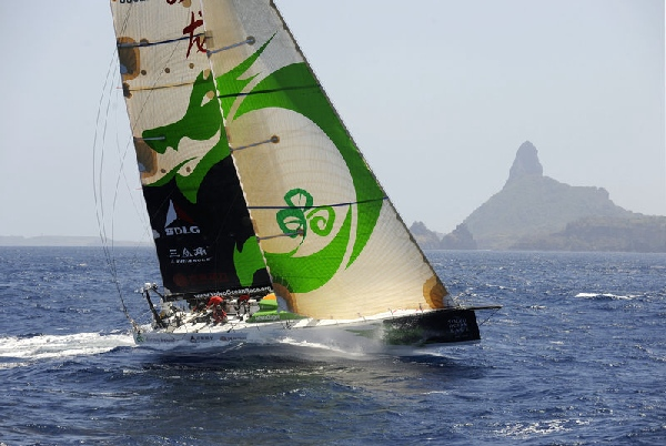 Green Dragon is first to pass through the scoring gate of Fernando de Noronha, on leg 1 of the Volvo Ocean Race, Photocredit: Rick Tomlinson/Volvo Ocean Race