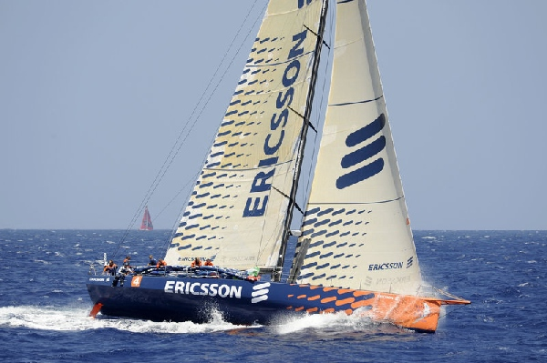 Ericsson 4 passes through the scoring gate at Fernando de Noronha, with PUMA Ocean Racing following close behind, on leg 1 of the Volvo Ocean Race