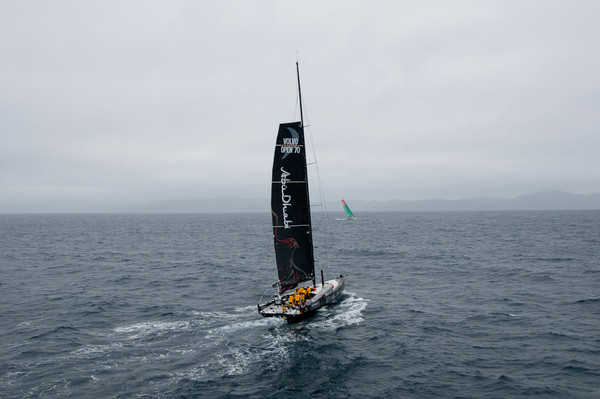 Abu Dhabi Ocean Racing, skippered by Ian Walker from the UK take down their headsail after sustaining damage to the J4 bulkhead, at the start of leg 5 from Auckland, New Zealand to Itajai, Brazil, during the Volvo Ocean Race 2011-12.  - Credit: PAUL TODD/Volvo Ocean Race