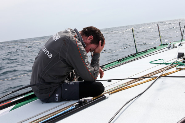 Groupama Sailing Team, skippered by Franck Cammas from France, suspend racing from leg 5 of the Volvo Ocean Race 2011-12, from Auckland, New Zealand to Itajai, Brazil, after the mast broke just above the first spreader around 60 nautical miles south of Punta del Este. (Credit: Yann Riou/Groupama Sailing Team/Volvo Ocean Race)