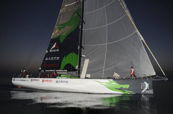 Green Dragon, skippered by Ian Walker (GBR) finishes 4th on leg 4 of the Volvo Ocean Race in Qingdao, China - Photocredit: Rick Tomlinson/Volvo Ocean Race