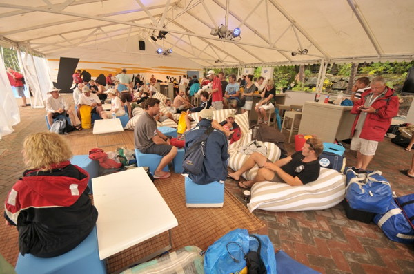 Crews wait for news in the SAP marquee - Photocredit: Christophe Favreau