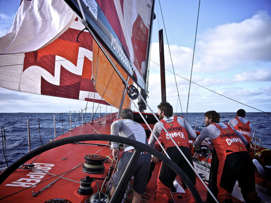 All eyes on the gybe onboard CAMPER with Emirates Team New Zealand during leg 5 of the Volvo Ocean Race 2011-12, from Auckland, New Zealand to Itajai, Brazil. (Credit: Hamish Hooper/CAMPER ETNZ/Volvo Ocean Race)