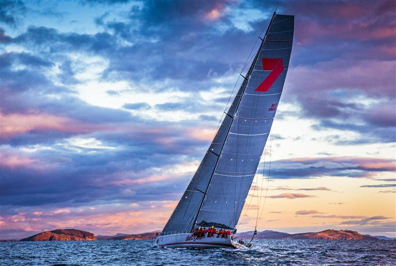 WILD OATS XI at sunrise, crossing Storm Bay towards the Derwent river entrance – Photo By: Rolex / Daniel Forster - 2012