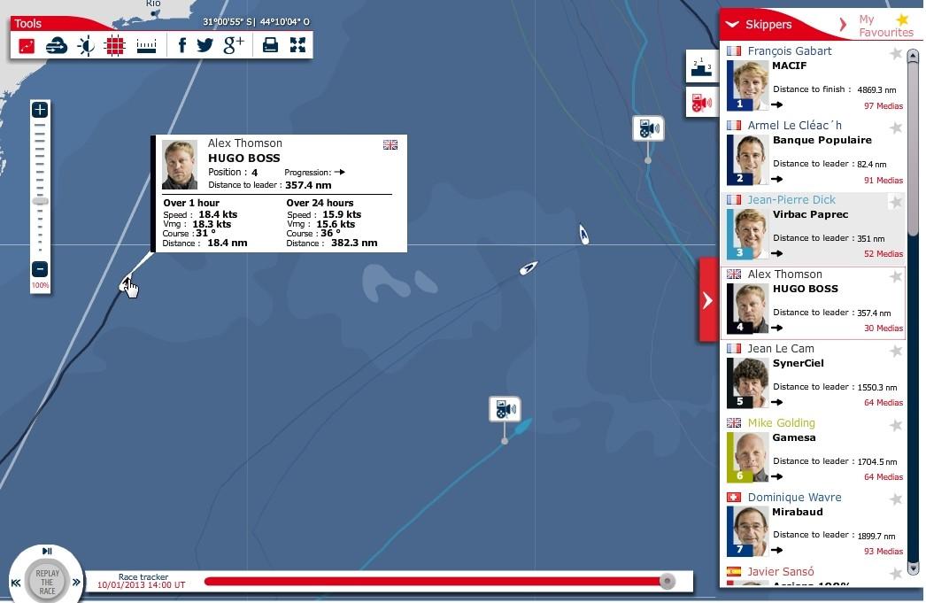 Vendee Globe 2012 - Tag 61 - Thompson auf Platz 3 - Screenshot: Website Vendee Globe