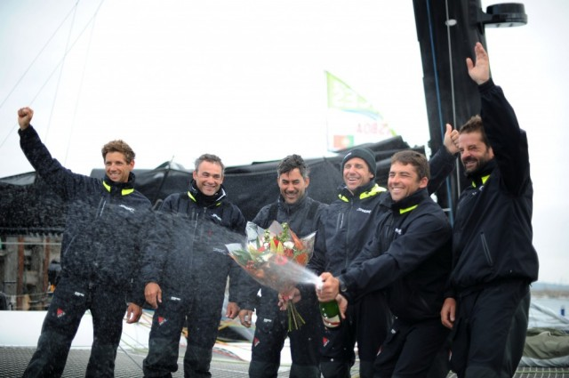 Spindrift crew celebrate win in Dun Laoghaire