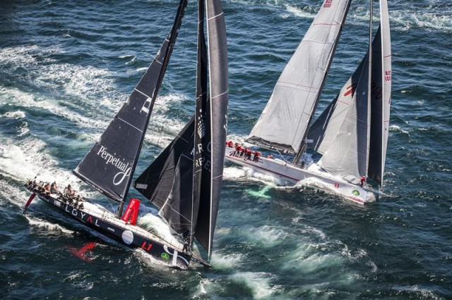 Maxis PERPETUAL LOYAL and WILD OATS XI shortly after the start - Photo By: Rolex / Daniel Forster