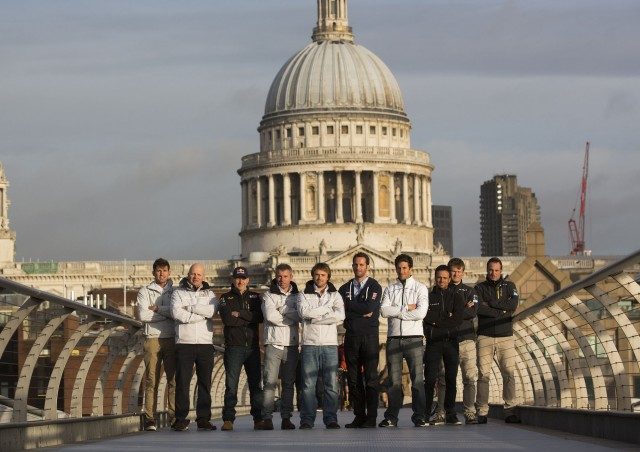 The 2014 Extreme Sailing Series skippers pictured here on the Millennium Bridge in central London as part of the series launch at the 2014 London Boat Show - Photocopyright: Lloyd Images