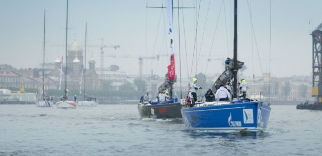 Nord Stream Race 2014 - Photo © onEdition 2014 - Team Russia lead th fleet in a procession out of central St. Petersburg ahead of the start of th Nord Stream Race 2014