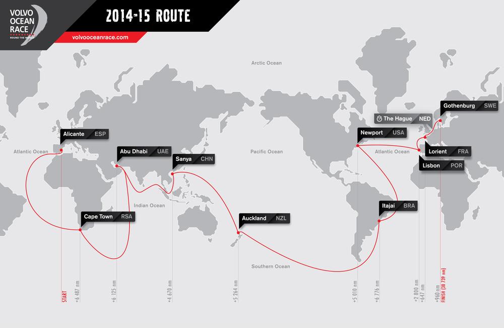 Rund um die Welt mit Zwischenstops: Die Route des Volvo Ocean Race 2014-15