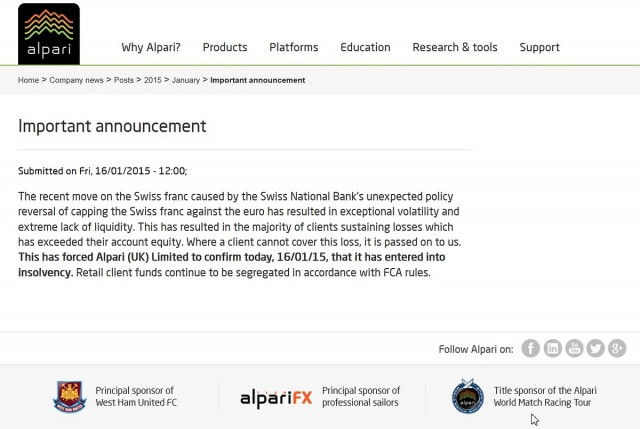 Screenshot Alpari Website - Insolvenzanzeige 16-01-2015