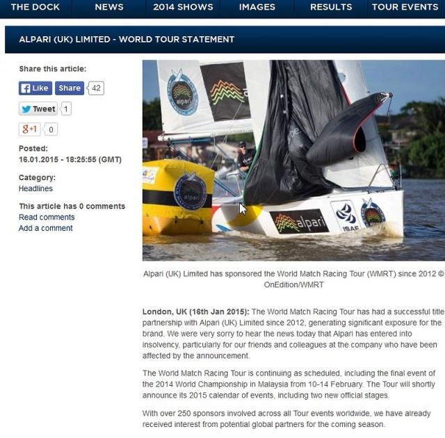 Screenshot Website WMRT - Alpari als Tour und Titelsponsor - 2015