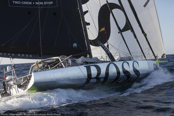 Barcelona World Race 2014-15, First Day at Sea, Hugo Boss (Alex Thomson, Pepe Ribes) - Photo © Gilles Martin-Raget / BWR