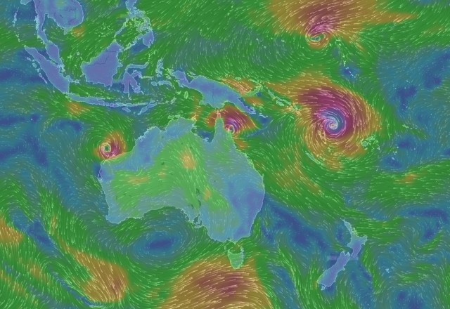 Zykon nähert sich Neuseeland - Screenshot © www.windyty.com