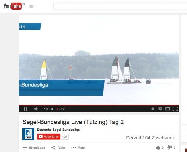 Segel-Bundesliga - Act 1 Tutzing 2015 - Tag 2 - Zuschauer des Livestreams - Screenshot: YouTube Kanal SBL
