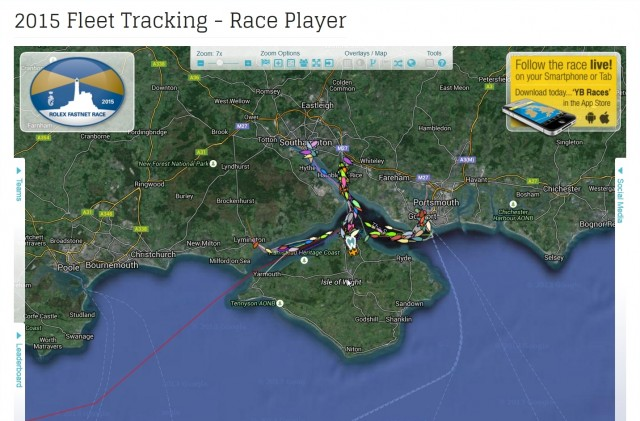Rolex Fastnet Race 2015 - Yellowbrick Racetracker: Screenshot Website RORC