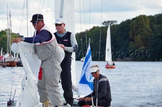 Europameisterschaft 2015 Soling: GER 333 - Flach, Jäkel, Schümann - Goldcrew holt EM Titel beim YCBG auf dem Müggelsee - Finaltag - WF 9 - Photo © SailingAnarchy.de 2015