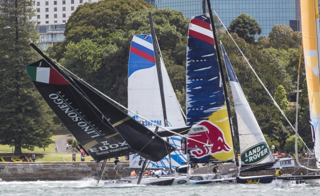 The Extreme sailing Series 2015. Act 8. Sydney. Australia . LINO SONEGO - Team Italia catamaran skippered by Enrico Zennaro (ITA) capsize during racing in Sydney Harbour today Image licensed to Lloyd Images