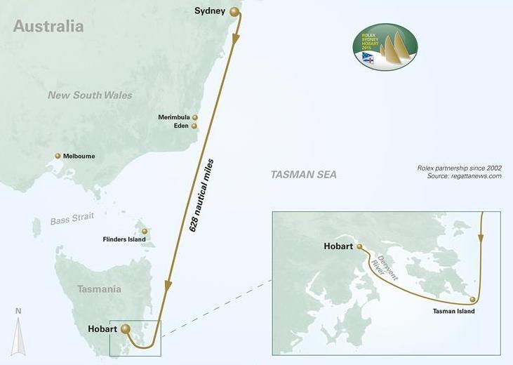 Hier geht's lang: Der Kurs des 71sten Rolex Sydney Hobart Yacht Race