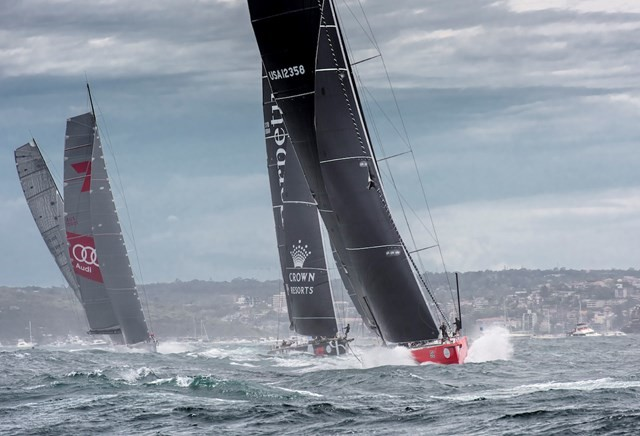 Start Rolex Sydney Hobart Yacht Race 2015 - Comanche leading the fleet - Photo © ROLEX/Kurt Arrigo