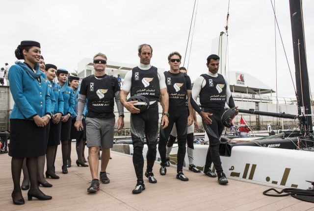 Extreme Sailing Series 2016. Act 1. Muscat Oman. Picture shows the Oman Air winning Act 1. skippered by Morgan Larson (USA) with team mates Pete Greenhalgh (GBR) Ed Smyth (NZL) , Nasser Al Mashari (OMA) and James Wierzbowski - Credit: Lloyd Images