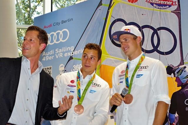 Bronzemedaillengewinner im 49er Olympische Spiele 2016 in Rio: Thomas Plößel und Erik Heil beim Empfang im Audi City Berlin am 25.08.2016 - Photo © SailingAnarchy.de 2016
