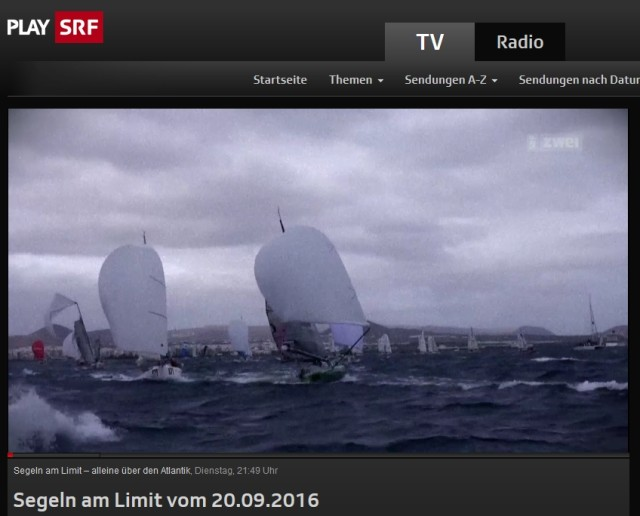 "Screenshot Video ""Segeln am Limit"" in der Mediathek des SRF - September 2016"