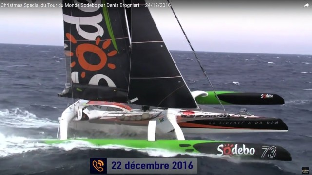 Maxi Trimaran Sodebo - Thomas Coville - Rekordversuch - Photo © Screenshot YouTube Sodebo