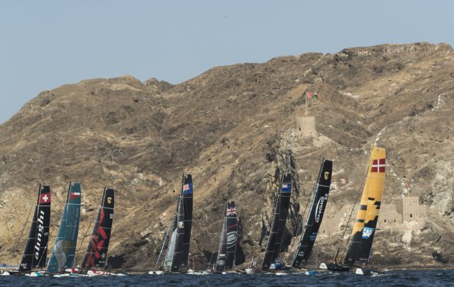 The Extreme Sailing Series 2017. Muscat. Oman. Pictures of the fleet racing close to the shore and historic town of Mutrah - Photocredit Lloyd Images