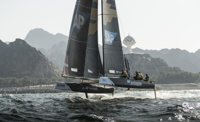 The Extreme Sailing Series 2017. Muscat. Oman. Pictures of the fleet racing close to the shore and historic town of Mutrah - Photocredit - Lloyd Images