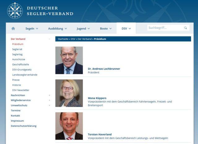 Präsidium DSV - Stand 10.03.2017 - Noch ist Dr. Lochbrunner Präsident des DSV - Photo © Screenshot DSV Website