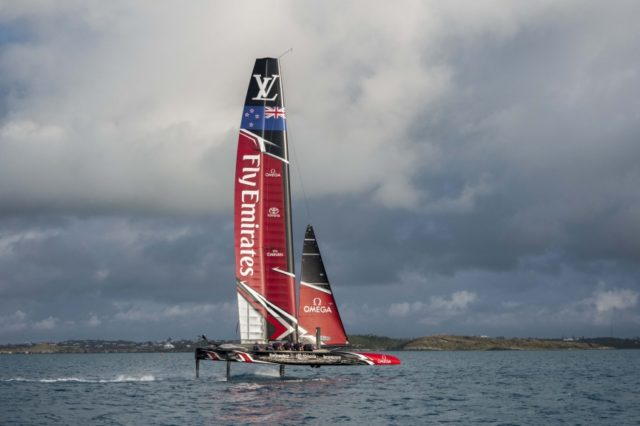 22/4/17- Emirates Team New Zealand prepare for their first day sailing in Bermuda - © ACEA - ETNZ