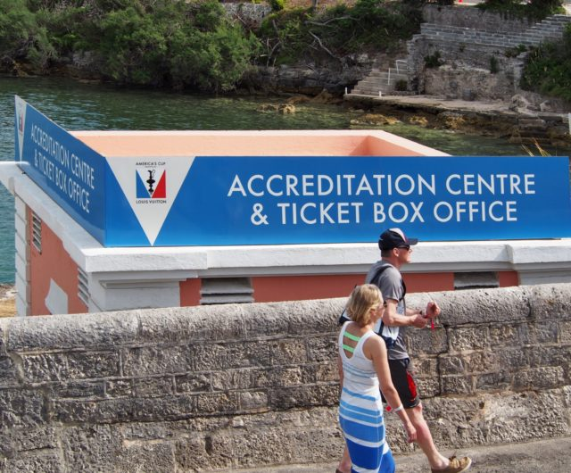 Accredition Center - 35th Americas Cup auf Bermuda, Mai 2017, Round Robin 1 - Louis Vuitton Cup - Photo © Anarchist Alex