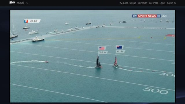 35th America´s Cup 2017 - Race 6 - Dial down in Leg 5 - Screenshot © Sky Sport News