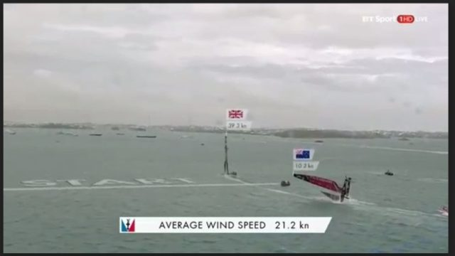 35th Americas Cup - Louis Vuitton Cup - Semifinale - ETNZ vs. Land Rover BAR - Rennen 4 - Kenterung ENTZ vor Start - Screenshot © BT Sport / ACEA
