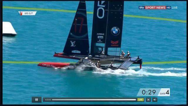 35th America´s Cup - OTUSA vs. ETNZ - Wettfahrt 8 - Bauchlandung OTUSA - Screenshot © sky SPORT NEWS HD Live