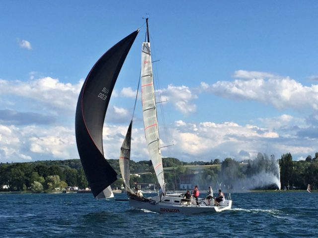 AXion 35 IMPERATOR vor Wind mit 1. Reff - Photo © Eigner