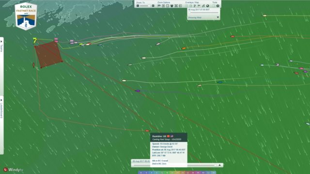 Rolex Fastnet Race 2017 - Rundung Fastnet Rock - Rambler 88 - Screenshoot © YB Racetracker