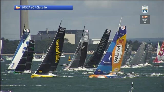 Fastnet Race 2017 - Start der IMOCA 60 - Screenshot © Livestream RORC