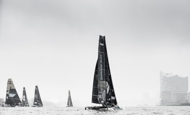 The Extreme Sailing Series 2017. Act5. Hamburg. Images from the first race on day 2 - Photocredit Lloyd Images