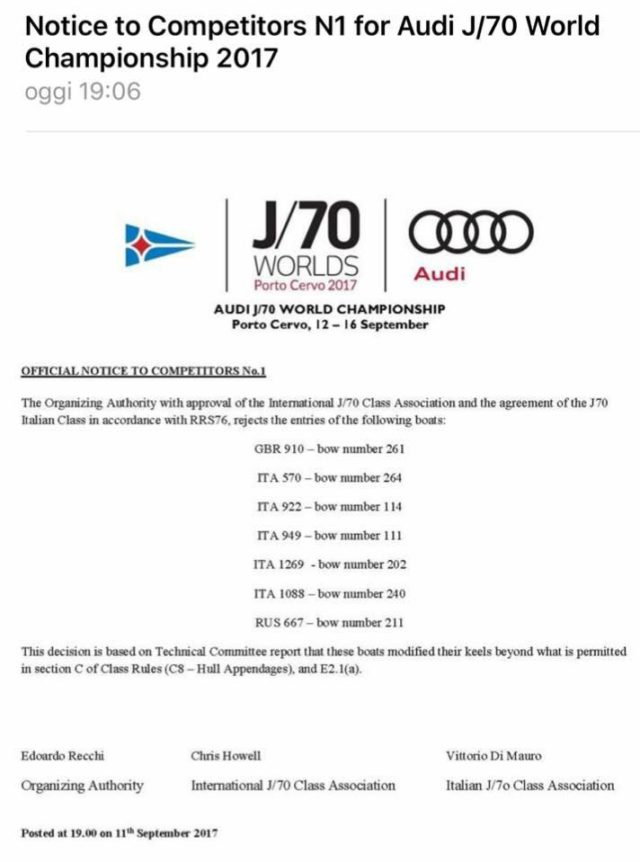 Audi J/70 Weltmeisterschaft 2017 - Mitteilung der Wettfahrtleitung über Ausschluss von Booten wegen Veränderungen am Kiel